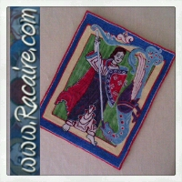 Racaire 2014 - 12th century embroidery - hand embroidery - Saint Michael and the Dragon - embroidery finished