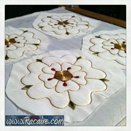 2016-08 - Racaire - 14th century hood - roses - surface couching - hand embroidery - medieval embroidery - SCA