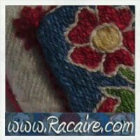 Racaire - medieval rose - Klosterstich - medieval embroidery - cloister stitch - hand embroidery