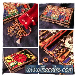 backgammon game with 14th century inspired painting