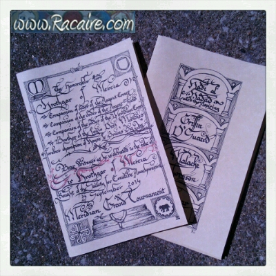 2014-10 - Racaire - Hrothgars SCA Knighting - vigil book pages - calligraphy and pen work - SCA