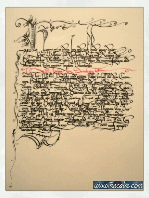 2016-03 - Racaire - GoA-German - new scrolls - Grant of Arms - callighraphy - SCA
