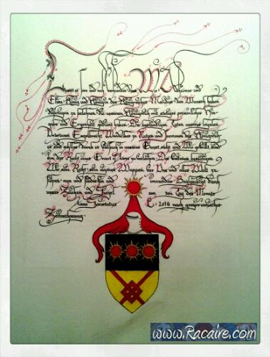 2016-05 - Racaire - SCA - scriptorium - Grant of Arms - calligraphy - SCA scroll - pergamenata