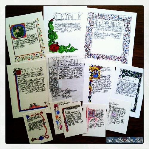 2016-09 - Racaire - misc calligraphy - scrolls - SCA - Batarde hand - Bastarda - SCA blank scrolls - Kingdom of Meridies