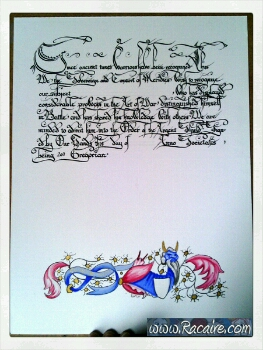 2017-02 - Racaire - scriptorium - blank - scroll - Argent shield - Kingdom of Meridies - SCA - calligraphy - Batarde - blank scrolls