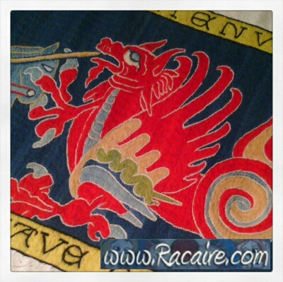 "14th century Klosterstich project - ""We have Dragons\"" - Medieval embroidery"