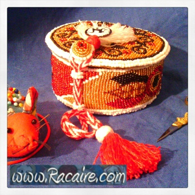 "beaded ""Reliquary Pouch\"" - Medieval embroidery"