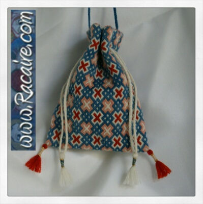 Small German Brick Stitch Pouch - Medieval embroidery