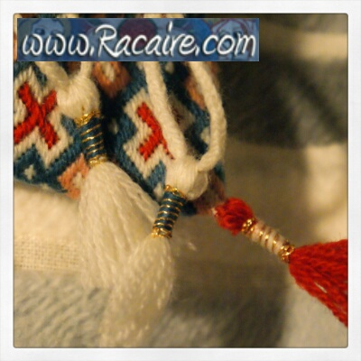 Small embroidered tassels - German Brick Stitch pouch - Medieval embroidery