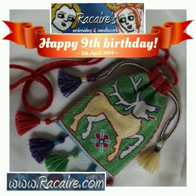 Update - 9th blog birthday gift – embroidered 14th century pouch...