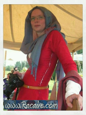 Racaire Meridian Grand Tournament - red 12th century silk dress - slit neckline and side lacing - neckline stress point reinforcement
